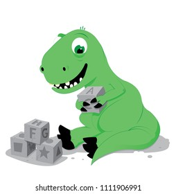 a vector cartoon representing a cute baby green dinosaur sitting on the ground and playing with some stone cube toys