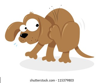 a vector cartoon representing a cute dog having troubles with some fleas
