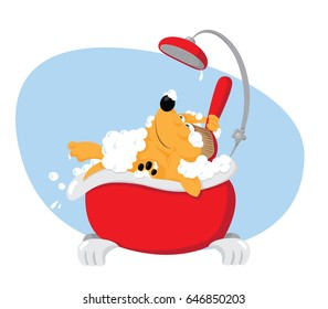 a vector cartoon representing a cute funny dog taking a bat in a bathtube and using a backscrubber - pet grooming concept