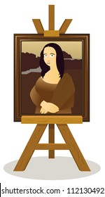 a vector cartoon representing an easel with a Mon alisa