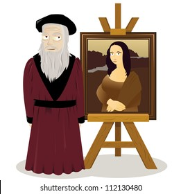 a vector cartoon representing an easel with a Mona lisa and Leonardo Da Vinci