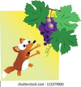 a vector cartoon representing the famous story of the fox and the grapes