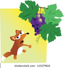 a vector cartoon representing the famous story of fox and grapes