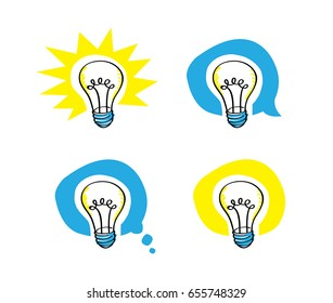 a vector cartoon representing a felt pen like scribble lightbulb, in four different balloons background, including a speech balloon and a thought balloon