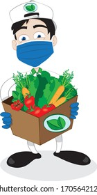 a vector cartoon representing a friendly and smiling courier delivering a fresh healthy vegetables carton and wearing a surgical mask and gloves - online order, safe and fast shipping concept