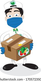 a vector cartoon representing a friendly and smiling courier wearing surgical mask and gloves, delivering a fresh healthy vegetables carton - online order fast and safe shipping concept during pandemi
