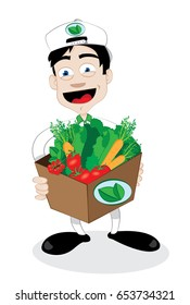 a vector cartoon representing a friendly and smiling courier, running and delivering a fresh healthy vegetables carton - online order and fast shipping concept