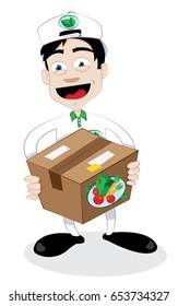 a vector cartoon representing a friendly and smiling courier, delivering a fresh healthy vegetables carton - online order and fast shipping concept