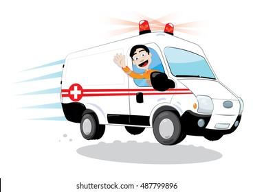 a vector cartoon representing a funny ambulance driver, hurrying and driving