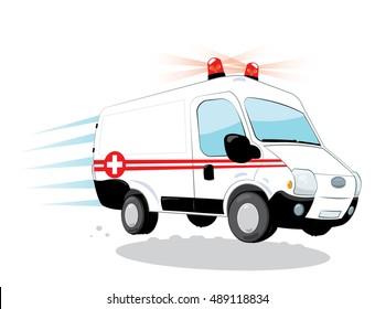 a vector cartoon representing a funny ambulance hurrying