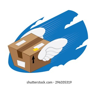 a vector cartoon representing a funny bird-winged package landing, fast and express delivery concept.