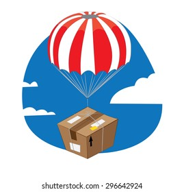 a vector cartoon representing a funny brown package with parachute falling down from a blue sky and landing slowly