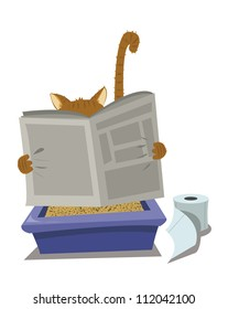 a vector cartoon representing a funny cat looking for a moment of privacy