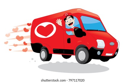 a vector cartoon representing a funny courier driving and delivering a red van of love, with heart shape logo on it. Image useful for Saint Valentine or wedding greeting cards. Love concept.