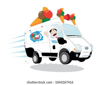 a vector cartoon representing a funny and decorated ice-cream van, with cones and a logo, driven by a cheerful ice-cream man cheering and smiling and wearing a white uniform with a hat and a papillon