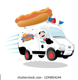 a vector cartoon representing a funny and decorated hot-dog van, with a hot dog and french fries logo, driven by a cheerful man