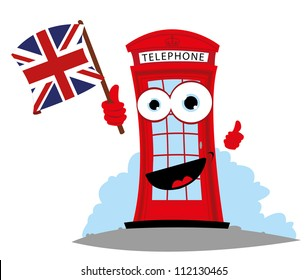 a vector cartoon representing a funny English Telephone, holding an English flag
