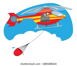 a vector cartoon representing a funny and friendly helicopter pilot, flying and carrying a bucket full of water to extinguish a fire