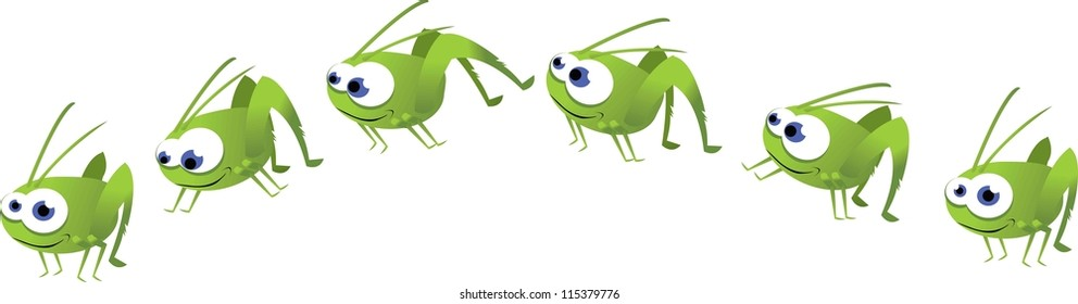 a vector cartoon representing a funny grasshopper in different poses, while it's jumping