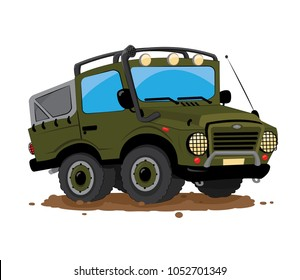 a vector cartoon representing a funny green military offroad custom car parked in the mud