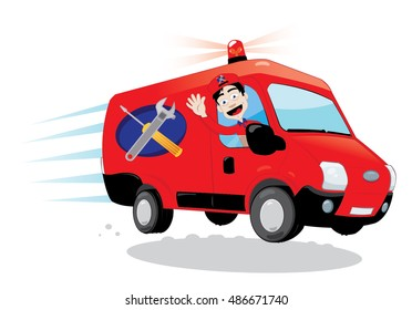 a vector cartoon representing a funny handyman cheering and driving a red van with tools logo. Express assistance concept