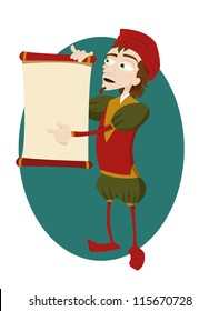 a vector cartoon representing a funny herald showing a scroll with copy space