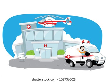 a vector cartoon representing a funny hospital building with a rescue helicopter on its roof. An ambulance in front of the building is hurrying - its driver says hello. Healthcare, medicine and rescue