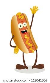 a vector cartoon representing a funny hot dog