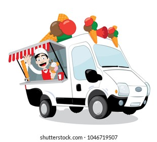 a vector cartoon representing a funny ice-cream van parked and open, a friendly and smiling ice-cream man is serving a big flavoured cone