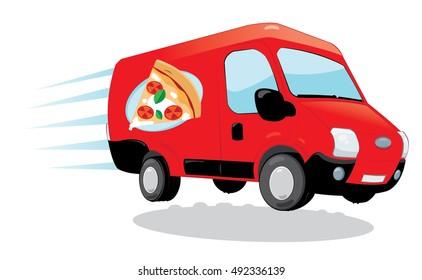 a vector cartoon representing a funny pizza delivery van