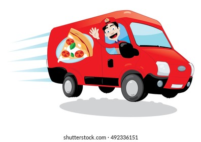 a vector cartoon representing a funny pizza delivery van driven by a friendly man cheering