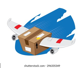 a vector cartoon representing a funny plane-winged package landing, fast and express delivery concept.