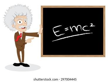 a vector cartoon representing a funny professor showing a blackboard with a formula