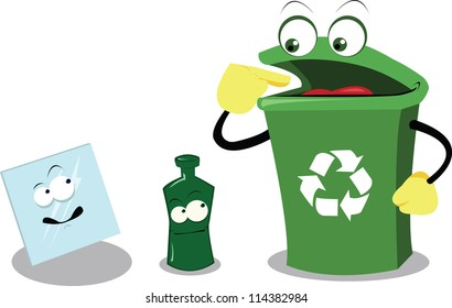 a vector cartoon representing a funny recycling bin and glass