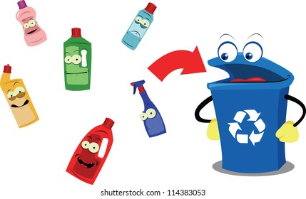 A vector cartoon representing a funny recycling bin and some plastic containers, every object is singly grouped