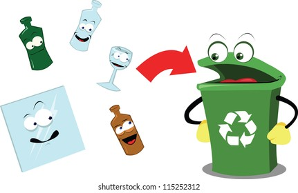 A vector cartoon representing a funny recycling bin and some glass objects