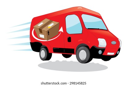 a vector cartoon representing a funny red courier van running and delivering some packages- fast shipping concept