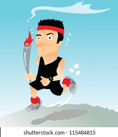 a vector cartoon representing a funny runner with a torch