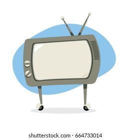 a vector cartoon representing a funny vintage retro television with copy space