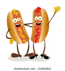 a vector cartoon representing a hot...dog couple