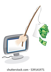 a vector cartoon representing a human hand popping out from a pc monitor and keeping a wooden phishing rod with a green banknotes in a mail hanging as a bait. Spam and phishing concept