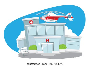 a vector cartoon representing an illustration of a funny hospital building with a white cross sign, with a helicopter parked on its roof, ready to fly, Healthcare, medicine and rescue concept.