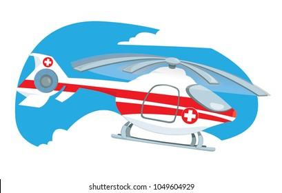 a vector cartoon representing a medical helicopter flying in the sky to rescue someone in need