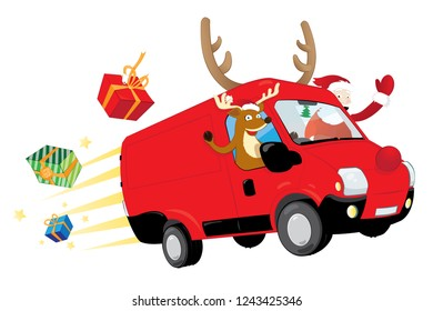 a vector cartoon representing a modern Christmas Reindeer and a funny Santa Claus, driving a speedy red van with antlers and a big red nose, delivering presents and flying in the sky