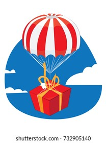 a vector cartoon representing a red present with a yellow ribbon landing from the sky with a funny red and white parachute - present delivery concept