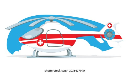 a vector cartoon representing a red and white medical helicopter, with rescue cross on it, standing on the ground. Light blue sky and some clouds on the background. Propellers are turned off,