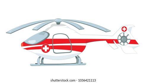 a vector cartoon representing a red and white medical helicopter, with rescue cross on it, standing on the ground.  Propellers are turned off, Image isolated on white background.