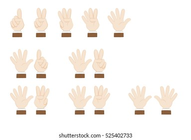a vector cartoon representing a set of human hands posing and showing numbers, from 1 to ten