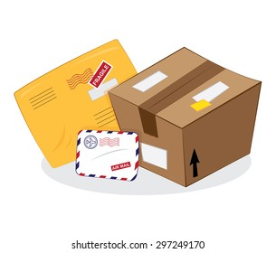 a vector cartoon representing a set of postal products: a brown carton package, a yellow sending envelope, an airmail letter