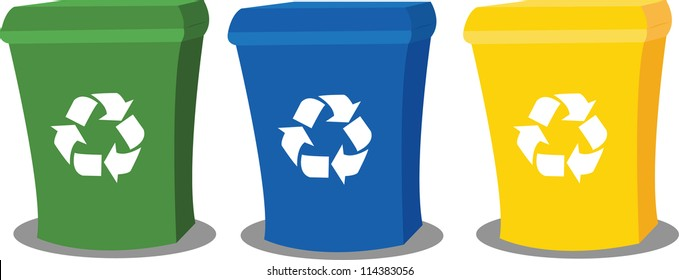 a vector cartoon representing three recycling bins in different colours